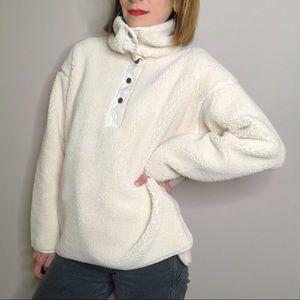 CHAPS cream sherpa teddy cozy funnel neck pullover